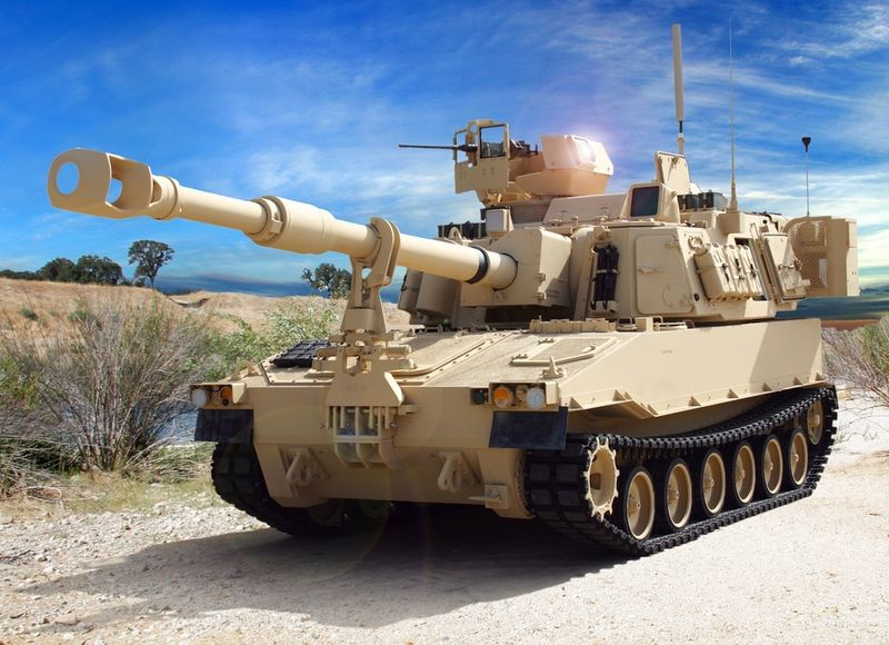 Sand-colored military tank