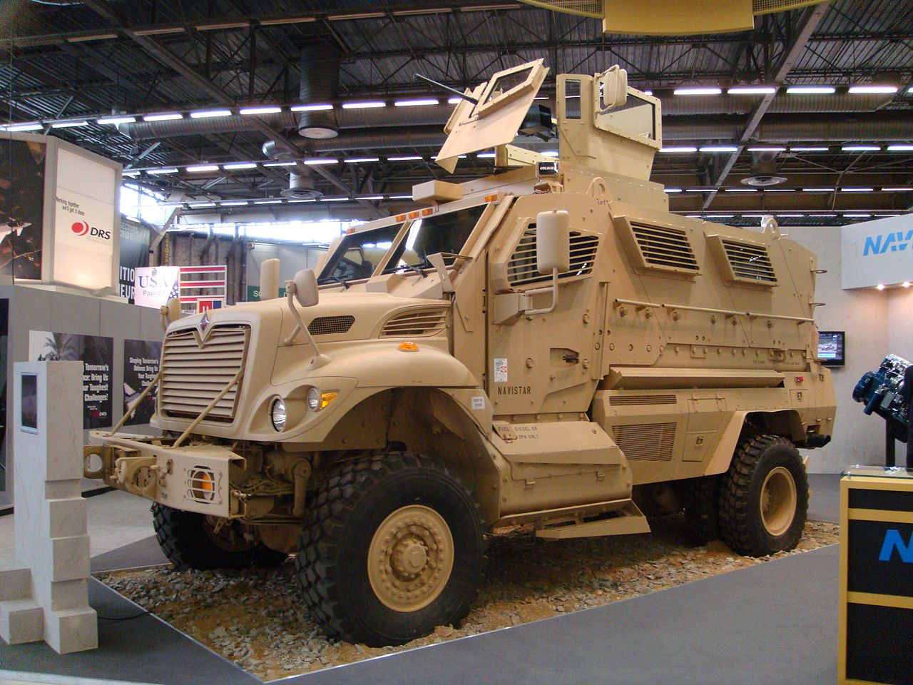 Sand-colored military armor vehicle