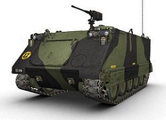 Camouflage-painted military tank