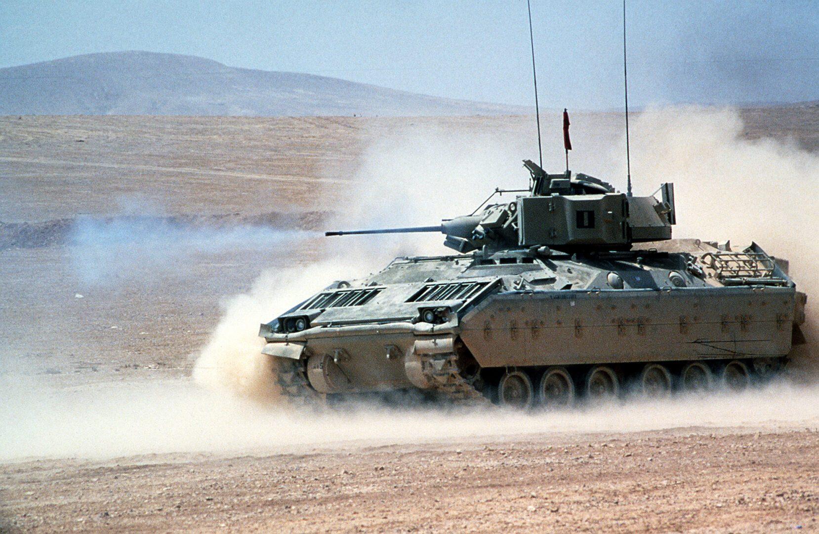 Military tank in the desert